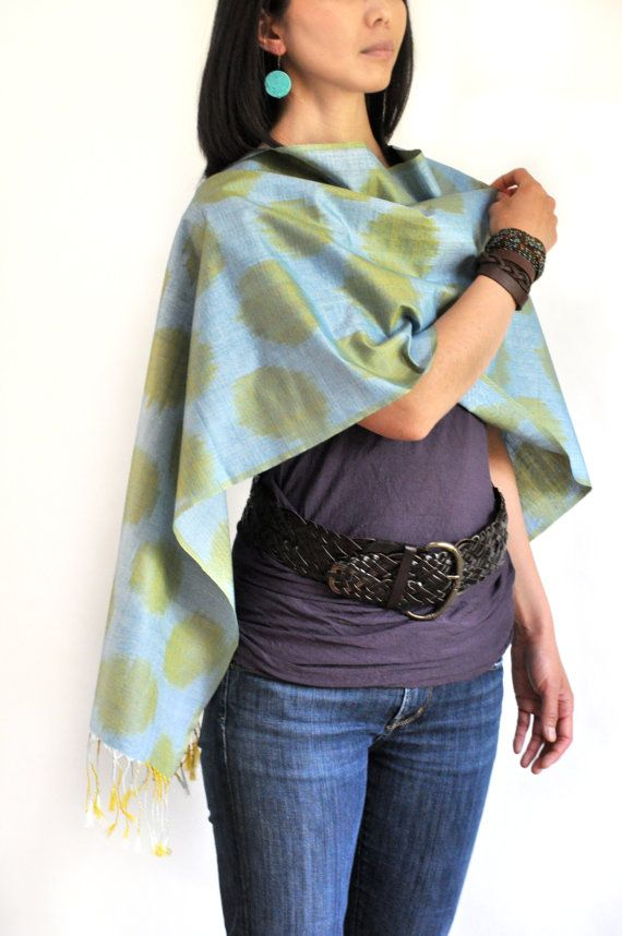 Turtle Lake Ikat Silk Scarf  6010 by BlackFigDesigns on Etsy, $69.00