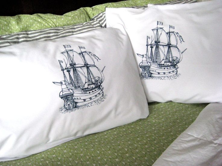 Screen Printed Nautical Pillow Cases (set of 2 standard) - Pirate Ship Pillow Covers - Eco Friendly Bedding - Nautical