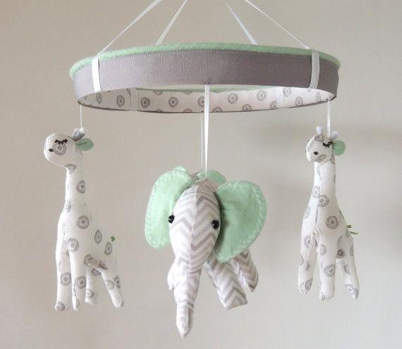 READY TO SHIPBaby MobileGiraffe Elephant Nursery by MemeFleury