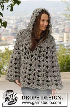 "Crochet DROPS poncho with hood in ""Polaris"". Size: S - XXXL. ~ DROPS Design •*¨`*•✿Teresa Restegui http://www.pinterest.com/teretegui/✿•*¨`*•"