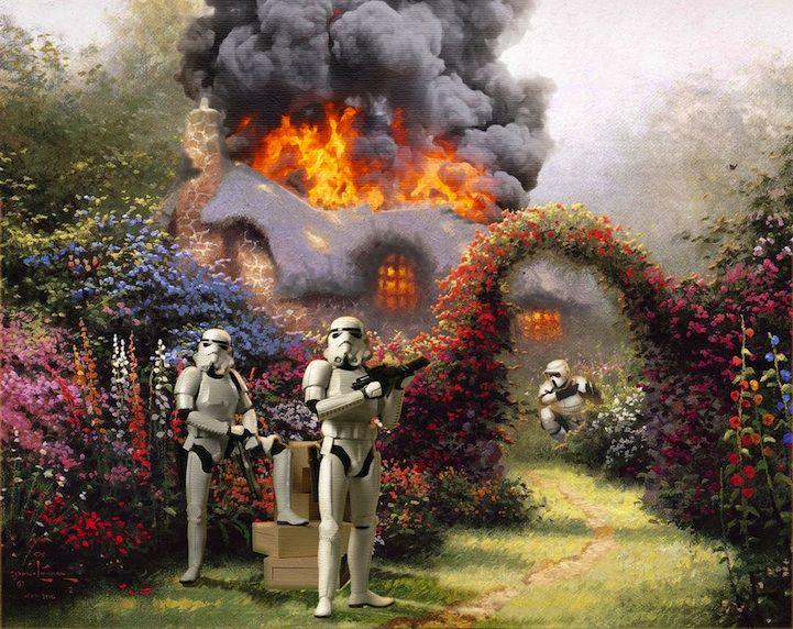 Star Wars Characters Invade Thomas Kinkade Paintings - My Modern Metropolis