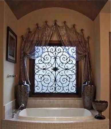 Think she would LOVE a Tableaux in the master bath - softened with a fabric as well - designbyjulie -