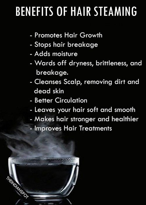 Hair Steaming: Steam hair with hot towel :  Soak a towel in water and wring it out so that the water is not dripping. Place the towel in microwave for 2 minutes or until very warm. Wrap the warm towel around head. Cover towel wrapped head with a shower cap or plastic bag big enough to hold steam. Sit under hooded or bonnet dryer or just use your hair dryer for 10-15 minutes. Rinse off, shampoo and condition as usual.