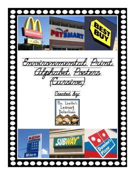Environmental Print Alphabet Posters (Cursive) $