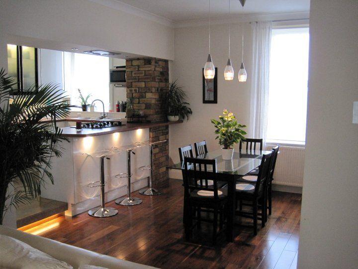 Flat renovation 2005 walnut floor open plan kitchen - Flooring for living room and living areas ...