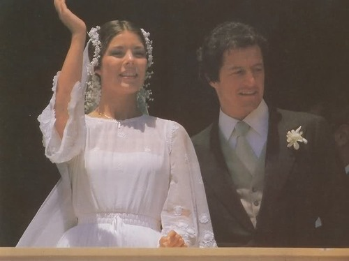 """Princess Caroline of Monaco's first wedding to Philippe Junot on June 28 & 29, 1978.    The civil wedding took place in the palace's throne room, with a pre-wedding gala that night and the religious ceremony held in the palace gardens the following day. The religious ceremony was attended by 65 guests, including King Constantine of Greece, Ava Gardner, Frank Sinatra, and Cary Grant. It is described as a """"lavish"""" but """"intimate"""" occasion.     The couple divorced on October 9, 1980."""