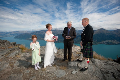 Heli-wedding at Cecil Peak Ledge accompanied by beautiful skies above Queenstown