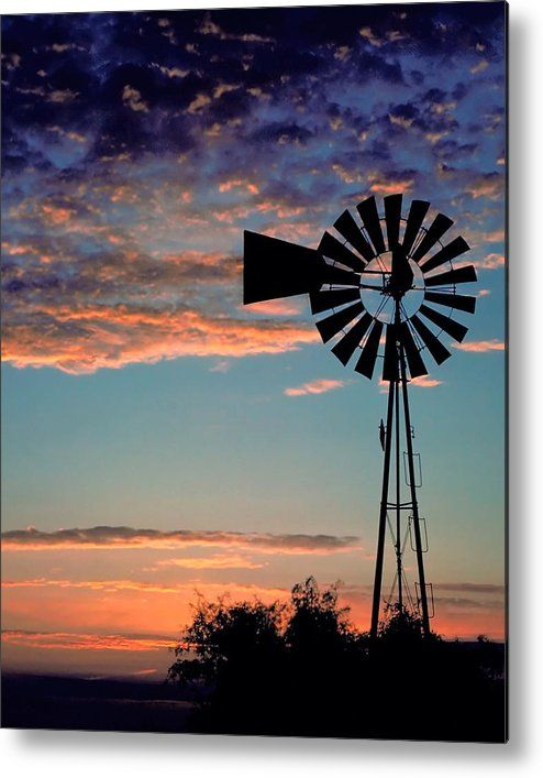 "#Windmill Metal Print featuring the photograph ""Windmill At Dawn"" by David and Carol Kelly"