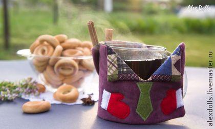 Грелка для Кружки с капюшоном - брусничный,фиолетовый,красный,столовая посуда