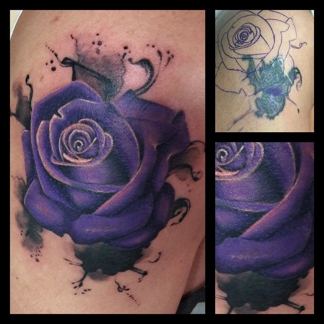 Did this inky rose cover up today! Goodbye nasty dragon! Not my usual thing but…