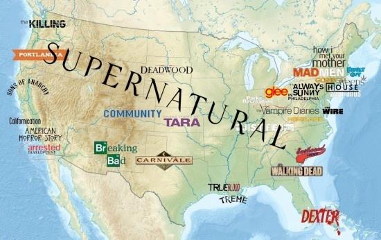 La carte des séries télévisées américaines