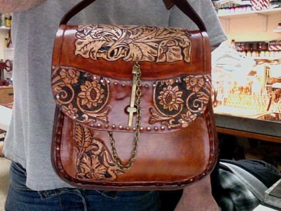 Leather Bag / Women's / Hand Carved and Tooled / by Delosleather, $365.00