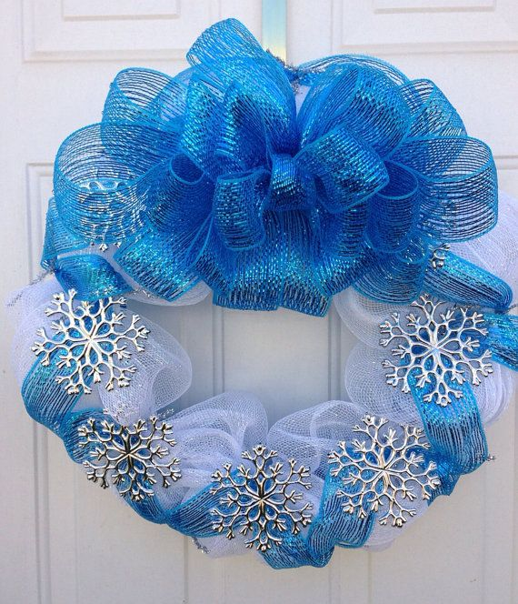 Christmas Wreath in White Deco Mesh with Blue Ribbon and Silver Snowflake Accents, 21 Inch Diameter