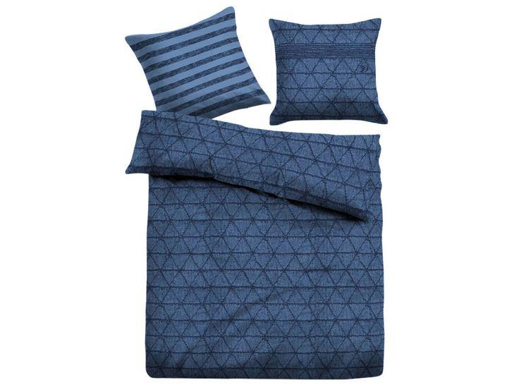 Tom Tailor Linon-Bettwaesche Cool blue triangles 135 x 200 cm 80 x 80 cm, navy