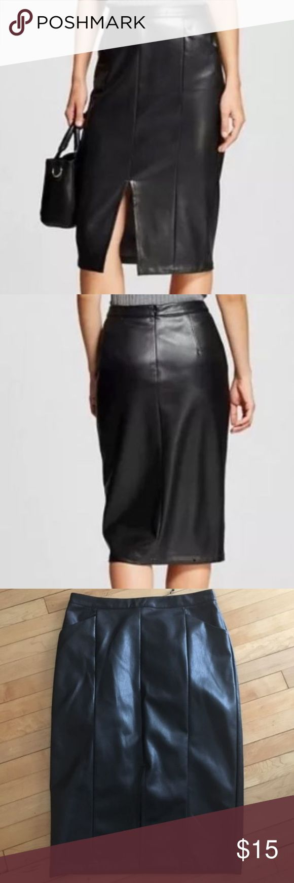 ✏️Faux Leather Pencil Skirt Who What Wear mid calf faux leather pencil skirt with slit in front and pockets on side Who What Wear Skirts Pencil