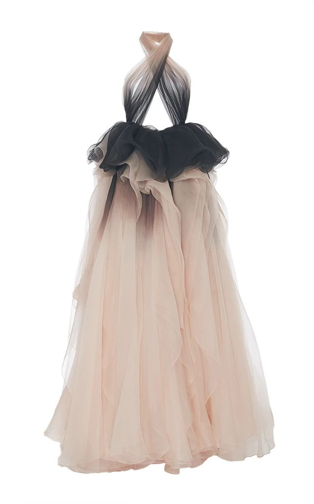 Ombré Draped Halter Neck Gown by MARCHESA Now Available on Moda Operandi
