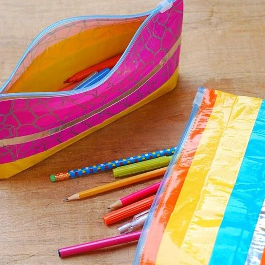 A compilation of different shoebox craft ideas, such as this pencil case from a gallon Ziploc and pretty duct tape