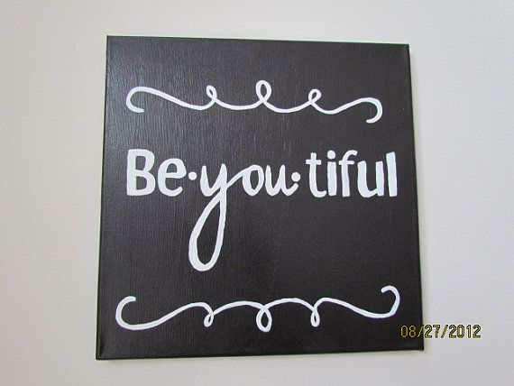 Black & White Be-You-Tiful Word Canvas - 12x12 via Etsy