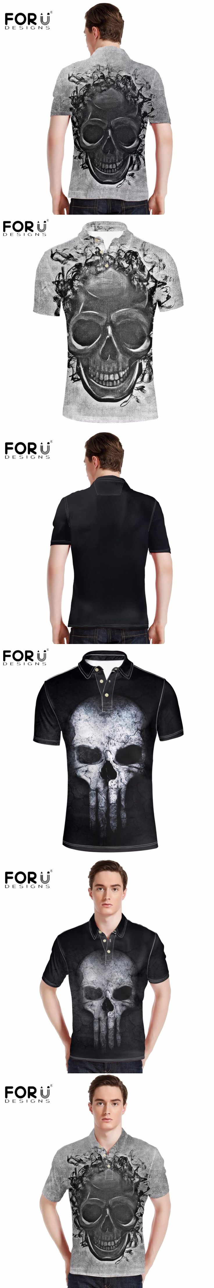 FORUDESIGNS New Arrival Men's Polo Shirt Black Punk Skulls Print Polos for Man Summer Comfort Short Sleeved Business&Casual Tops