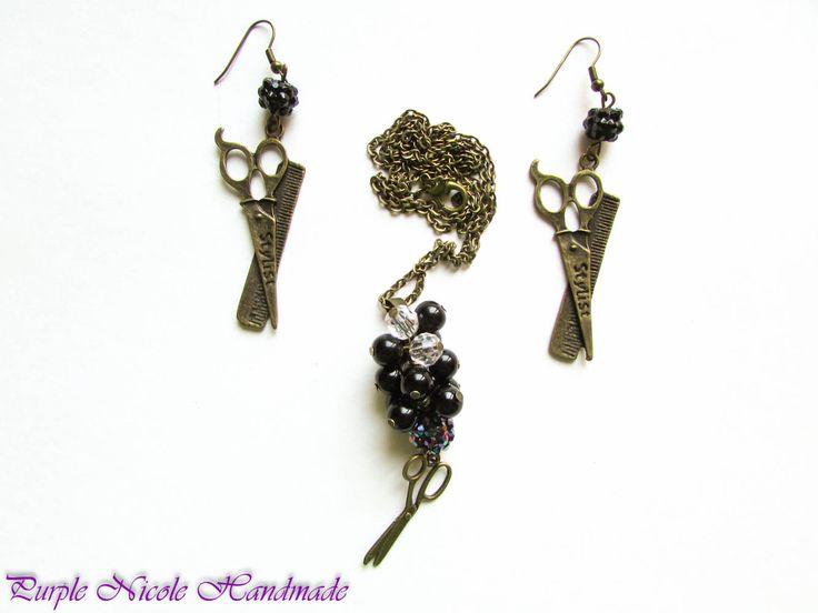Hair Stylist - Handmade Jewelry Set: necklace earrings, by Purple Nicole Handmade (Nicole Cea Mov). Materials: bronze accessories, black pearls, shamballa beads, bronze scissors.
