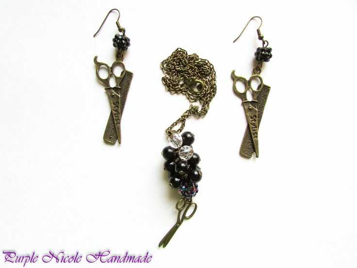 Hair Stylist - Handmade Jewelry Set: necklace earrings, by Purple Nicole Handmade (Nicole Cea Mov). Materials: bronze accessories, black pearls, shamballa beads, bronze scissors.