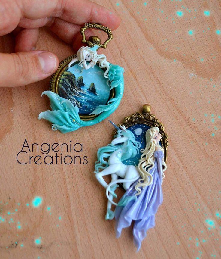 New Commissions finished !! Not available  I hope you like it !! #thelastunicorn #mermaid #unicorn #handmade #fimo #polymerclay #miniature #angeniacreations #kawaii #cute