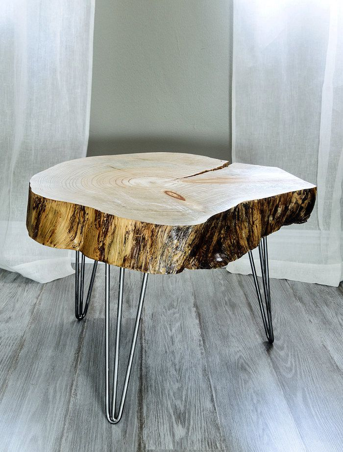 Table Basse En Tronc D Arbre Le Meuble Diy Qui Cache La Foret Archzine Fr Table Basse Tronc D Arbre Table Bois Idee Table Basse