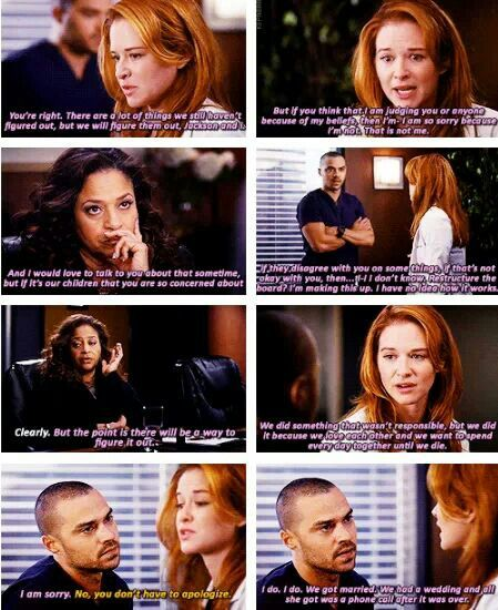 when april stands up for what she loves/believes in!  Love the strength Kepner shows in this scene with Mrs. Avery and Jx!