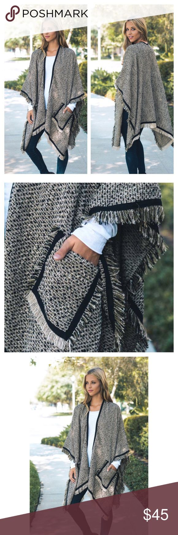 """Arriving Soon- Mocha Tweed Poncho With Pockets This listing is for a warm and cozy tweed poncho. Chunky poncho. Blanket scarf. 100% soft and smooth Acrylic. Dimensions: 67""""x50"""". Brand new. Accessories Scarves & Wraps"""