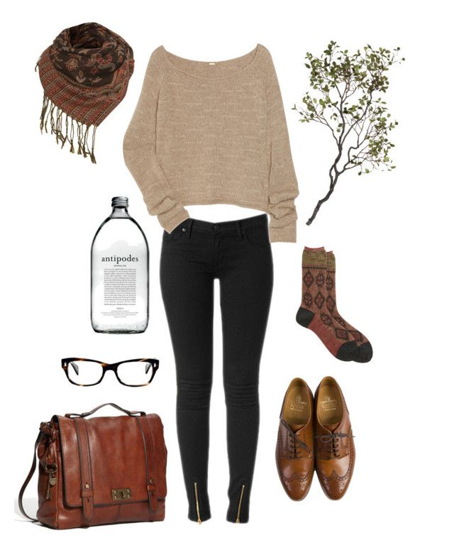"""""""tomorrow"""" by mikazuki-usagi ❤ liked on Polyvore featuring Hudson Jeans, The Row, Antipast, Crockett & Jones, FOSSIL, Miss Selfridge, Crate and Barrel and Oliver Peoples"""
