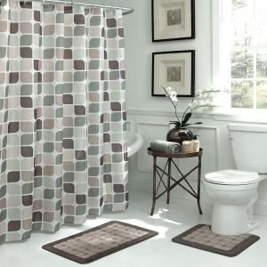 Bath Fusion Zaragoza Linen/Chocolate 15-Piece Bath Rug and Shower Curtain Set ECB0013144 at The Home Depot - Mobile