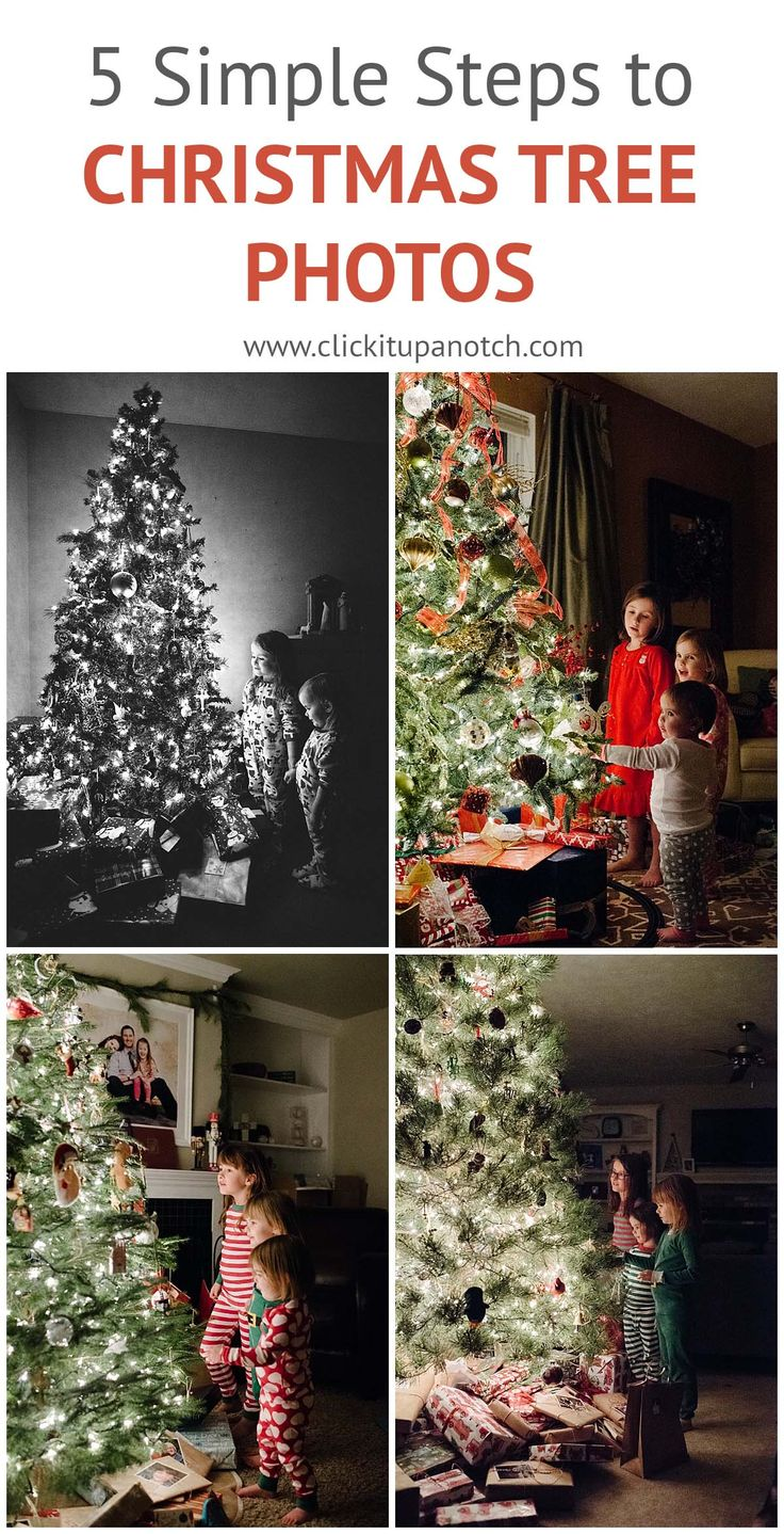 The perfect Christmas tradition! Photograph your kids by the Christmas tree every year. Follow these five simple steps to take pictures of your kids by the Christmas tree.