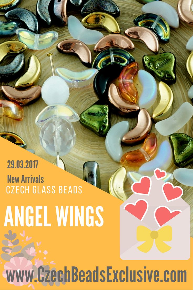 Angel Wings are right here. Unique shape and crystal color make them great for allying little angels. You should just put these beads together with a head and a skirt and it's almost ready to be a pendant, earrings or just anything you want. Possibilities of using Czech glass Angel Wings beads are just endless with a desire to create.  ◄https://czechbeadsexclusive.com/+angel+beads
