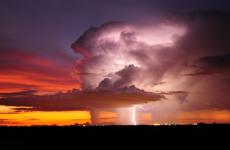 thunderstorm and a sunset all in one scene: Thunderstorms, Lightning, Arizona Usa, Tuscon Arizona, Tucson Arizona, Inspiration Photos, Volcanoes, Extreme Weather, Storms Cloud