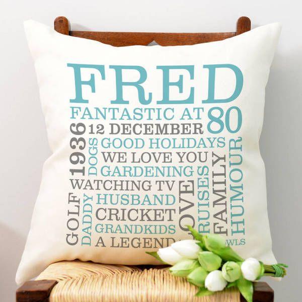 Personalised 80th Birthday Word Art Cushion
