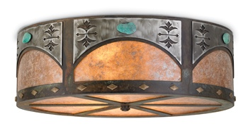 Concho Ceiling Light  It takes center stage. Dramatic in laser-cut steel with hand-applied rust patina, burnished steel overlays and turquoise stone details. Silver mica light diffuser casts a cool glow.