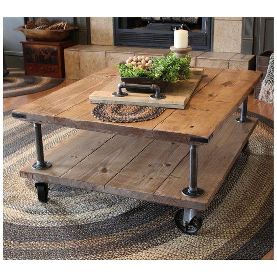 Coffee Table, Farmhouse Industrial Coffee Table, Industrial Iron and Wood Coffee Table, Table with vintage Casters