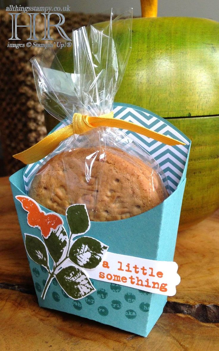 Helen's cookie holder: Kinda Eclectic, Something to Say, Lost Lagoon dsp, Fry Box die, & more. All supplies from Stampin' Up!