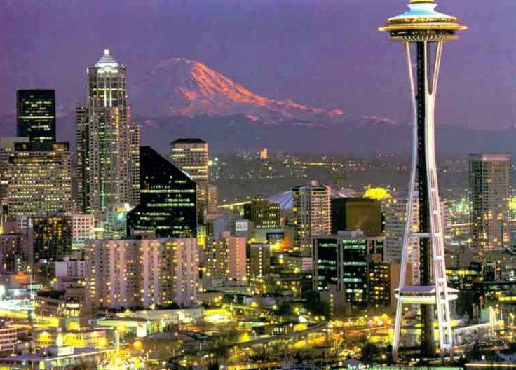 Seattle, estado de Washington, viéndose la magnífica imagen del monte Rainier
