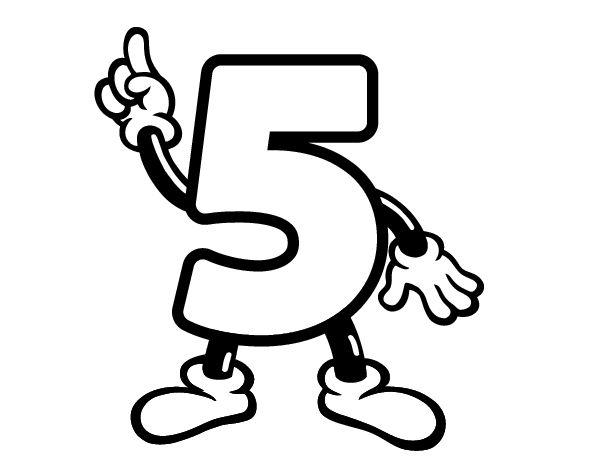 Dibujo del número cinco para colorear