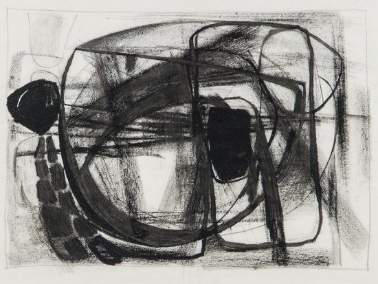 (untitled) - Conte chalk on paper by Paul Feiler, 1963
