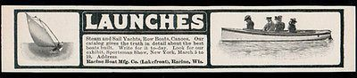 Launches Ad Racine Boat Manufacturing Wisconsin Steam Sail Yachts Canoes 1902