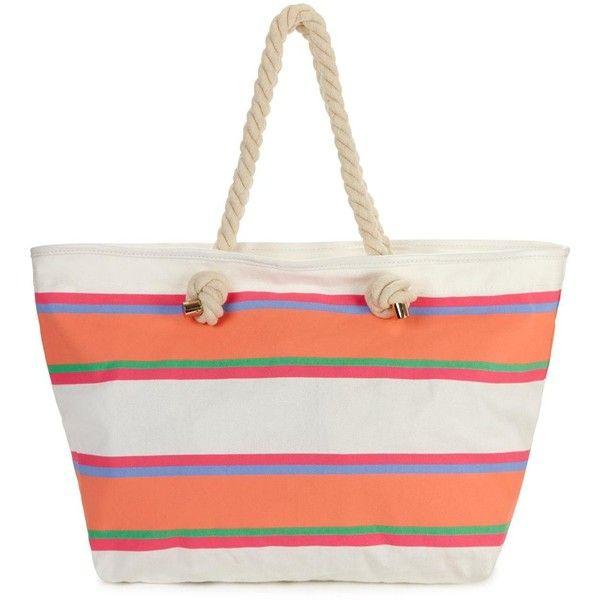 Multi Stripe Beach Bag ($14) ❤ liked on Polyvore featuring bags, handbags, beach bag, stripe purse, nautical purse, striped purse and summer bags