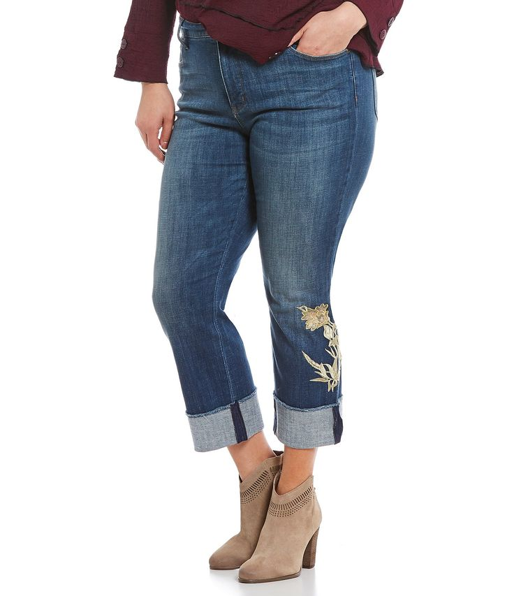 NYDJ Plus Marilyn Ankle Embroidered Jeans #Dillards