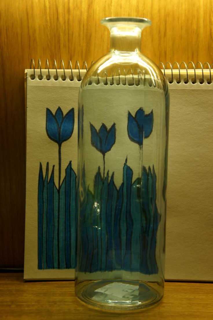Bosquejo para pintar botella de vidrio