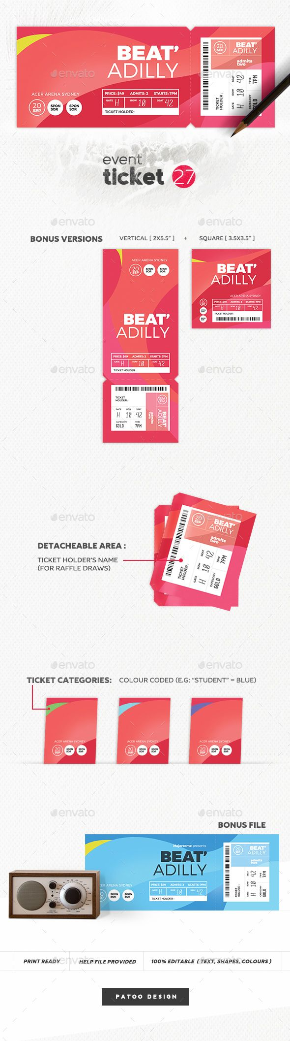 Event Ticket Template 27 - #Event #Ticket #Print #Template #Design. Download here: https://graphicriver.net/item/event-ticket-template-27/19481068?ref=yinkira
