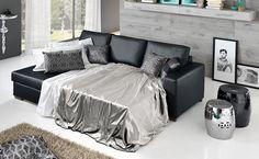 Scopri il nostro divano letto angolare Orlando in similpelle nero.