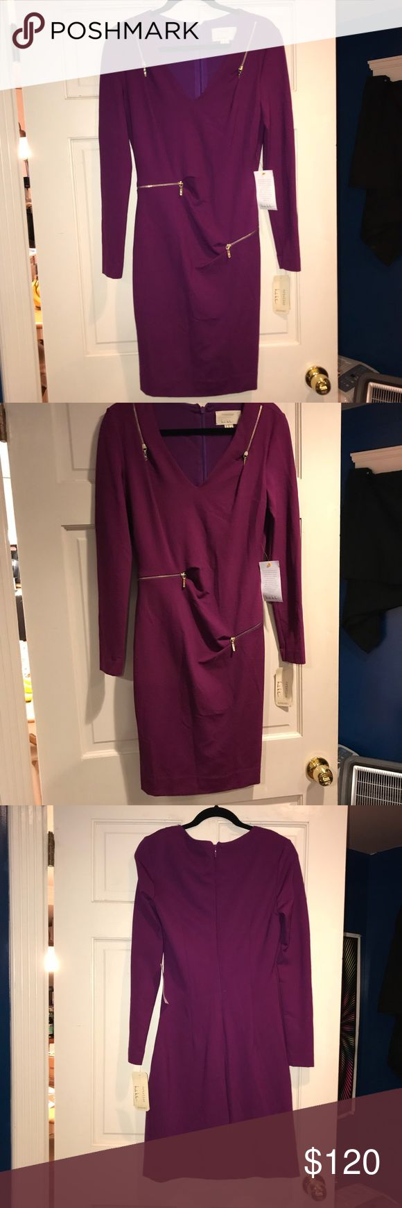 Nicole Miller Dress Artelier Nicole Miller purple v neck zipper dress brand new super cute dress it is stretchy it can also be a size 8 Nicole Miller Dresses Long Sleeve