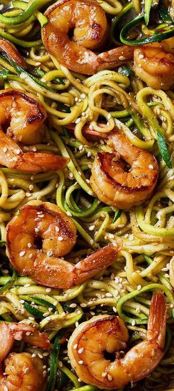 Stir Fry Teriyaki Shrimp with Zucchini Noodle — Eatwell101