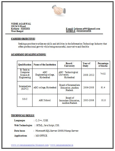 Example Template of Excellent Fresher B Tech Resume Sample / Format with great Job Profile and Career Objective, Professional Curriculum Vitae with Free Download in Word Doc or Pdf (3 Page Resume) (Click Read More for Viewing and Downloading the Sample)  ~~~~ Download as many CV's for MBA, CA, CS, Engineer, Fresher, Experienced etc / Do Like us on Facebook for all Future Updates ~~~~2
